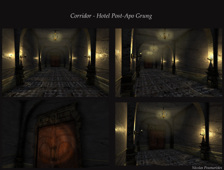 A corridor I made in 3D for an assignment. I used 3DSMax and Painter.