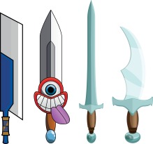 A few ugly swords I made at the very beginning of my studies.