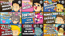 The 9 first thumbnail from my youtube channel ! I'm trying to make them as fun as possible.