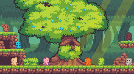 A pixel art scene based on ecology, vibrant colors and cute characters. I'm not good in pixel art, I was just learning that style.